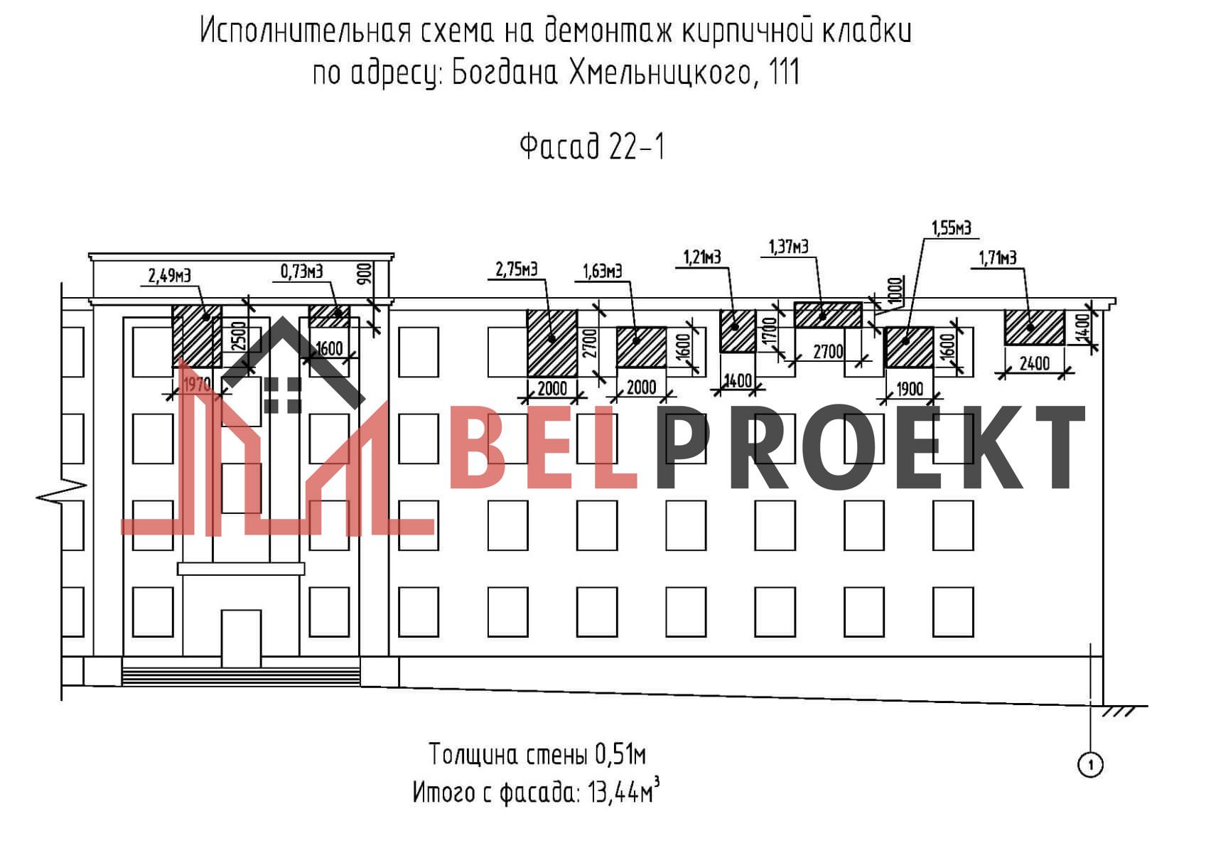 Исполнительная схема кирпичной кладки фасада